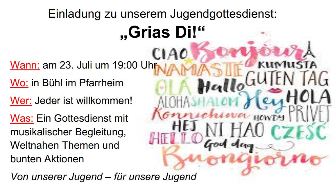 "Jugendgottesdienst ""Griaß Di!"""